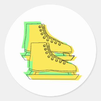 Yellow Ice Skates Round Stickers