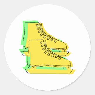 Yellow Ice Skates Round Sticker