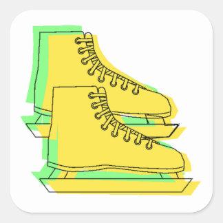 Yellow Ice Skates Square Stickers