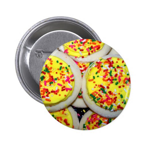 Yellow Iced Sugar Cookies w/Sprinkles Button