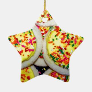 Yellow Iced Sugar Cookies w/Sprinkles Ceramic Star Decoration