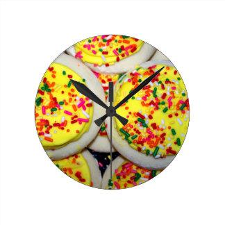 Yellow Iced Sugar Cookies w/Sprinkles Round Wall Clocks