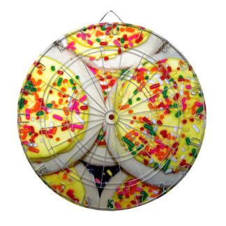 Yellow Iced Sugar Cookies w Sprinkles Dart Board