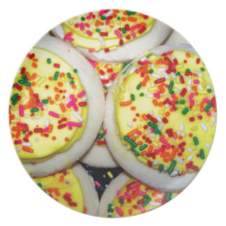 Yellow Iced Sugar Cookies w/Sprinkles Plates