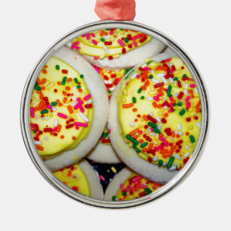 Yellow Iced Sugar Cookies w/Sprinkles Silver-Colored Round Decoration