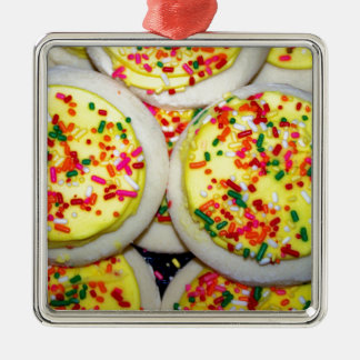 Yellow Iced Sugar Cookies w/Sprinkles Silver-Colored Square Decoration