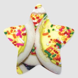 Yellow Iced Sugar Cookies w/Sprinkles Star Sticker