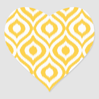 Yellow Ikat Classic Geometric Ethnic Print Heart Sticker