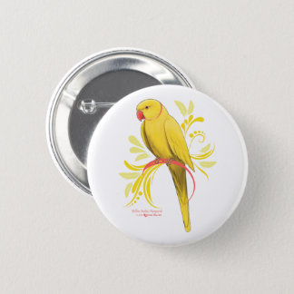 Yellow Indian Ringneck Parrot 6 Cm Round Badge