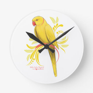 Yellow Indian Ringneck Parrot Round Clock