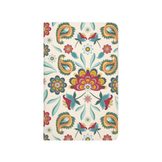 Yellow Indonesian floral and vines Batik pattern Journal