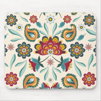 Yellow Indonesian floral and vines Batik pattern Mouse Pad