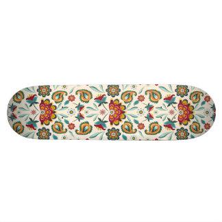 Yellow Indonesian floral and vines Batik pattern Skateboard