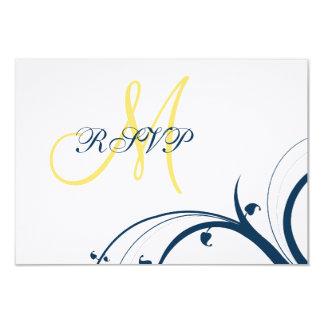 Yellow Initial, Blue Swirls Wedding RSVP Card 9 Cm X 13 Cm Invitation Card