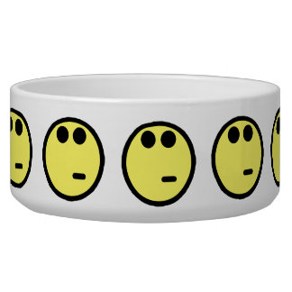 Yellow Inquisitive Smiley Face Dog Water Bowls
