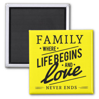 Yellow Inspirational Typography Family Quote Square Magnet