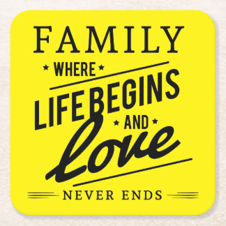 Yellow Inspirational Typography Family Quote Square Paper Coaster
