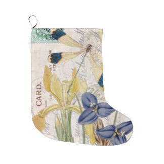 Yellow Iris And Dragonfly Collage Large Christmas Stocking