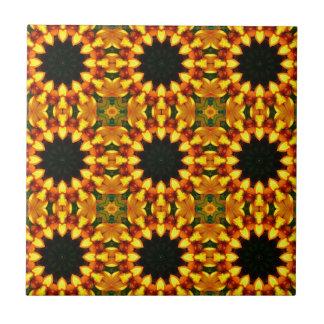 Yellow Iris, Floral mandala-style 04.0 Ceramic Tile