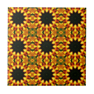 Yellow Iris, Floral mandala-style 04.0 Small Square Tile