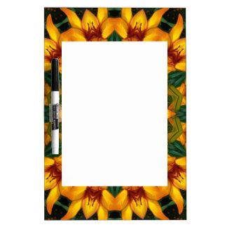 Yellow Iris, Floral mandala-style Dry Erase Boards
