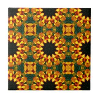 Yellow Iris, Floral mandala-style Small Square Tile