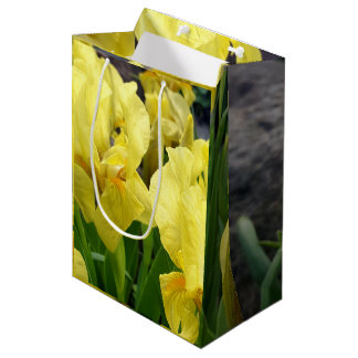 Yellow Iris flowers Medium Gift Bag