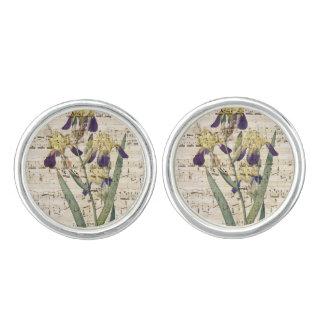yellow iris music cufflinks