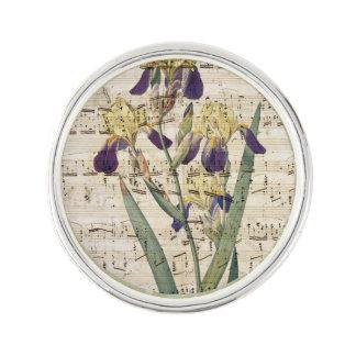 yellow iris music lapel pin