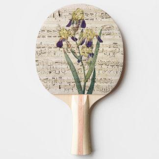 yellow iris music ping pong paddle