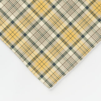 Yellow, Ivory and Black Plaid Fleece Blanket
