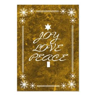Yellow Joy Love Peace Christmas Party Invitation