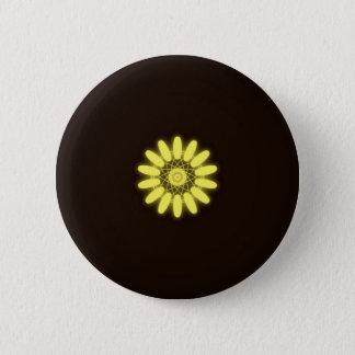 Yellow Kaleidoscope On Black Background 6 Cm Round Badge