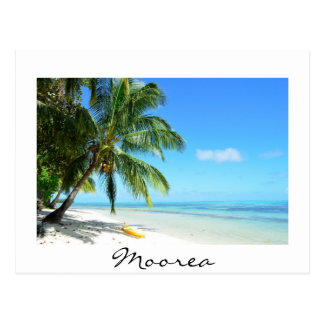 Yellow kayak on Moorea beach white text postcard