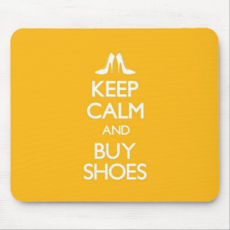Yellow Keep Calm and Buy Shoes Mouse Pad