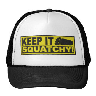 "Yellow KEEP IT SQUATCHY!  ""embroidered-look"" print Cap"