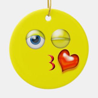Yellow Kiss Emoji Custom Name Ceramic Ornament