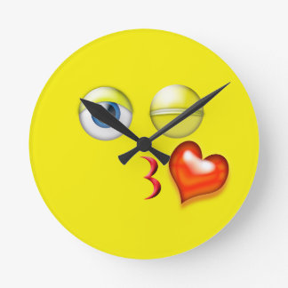 Yellow Kiss Emoji Round Clock