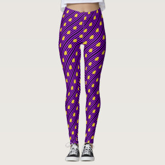 Yellow kiss lips purple black stripes leggings
