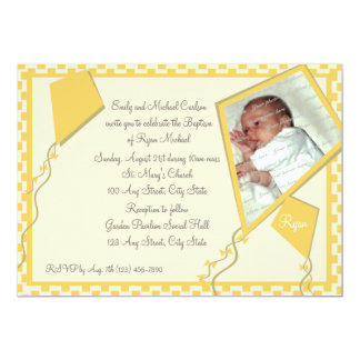 Yellow Kites Photo/ Baptism Card