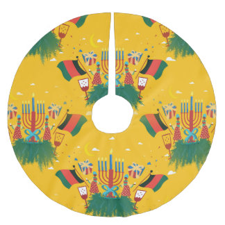 yellow kwanzaa christmas tree skirt