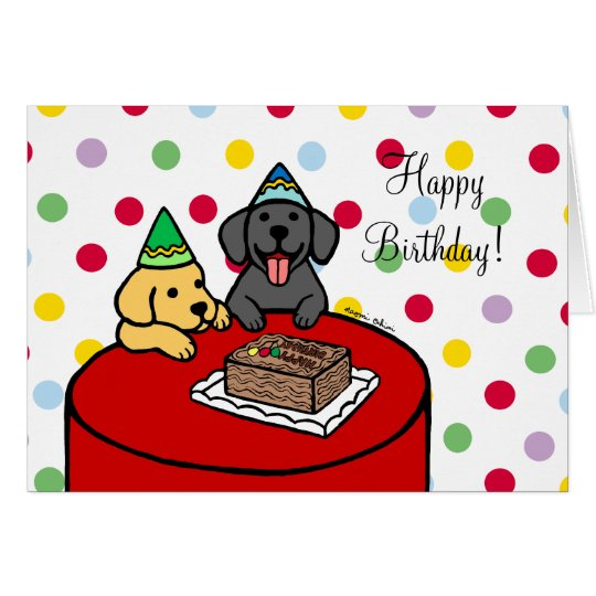 Yellow Lab 2 & Black Lab Birthday Card