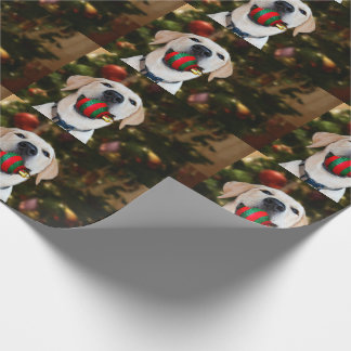 Yellow lab Christmas ball Wrapping Paper