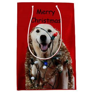 Yellow lab Christmas Medium Gift Bag