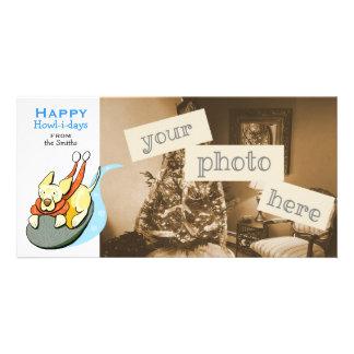 Yellow Lab Cute Dog Sled Christmas Cartoon Photo Cards