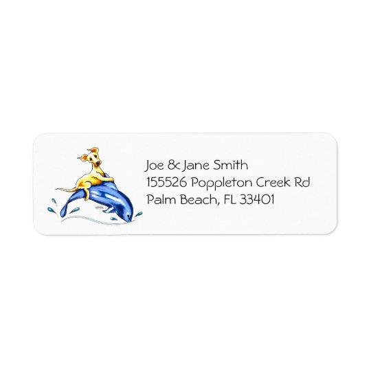 Yellow Lab Dolphin Ride Return Address Label