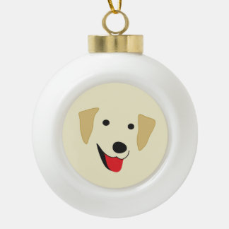 Yellow Lab Face Ceramic Ball Christmas Ornament