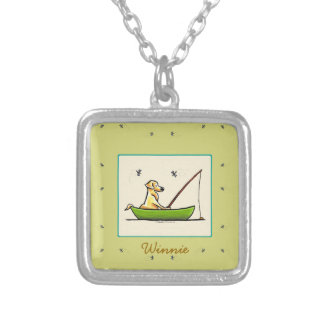 Yellow Lab Fishing Dragonflies Personalized Silver Plated Necklace