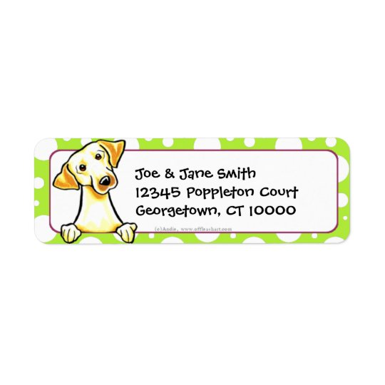 Yellow Lab Green Dots Return Address Label
