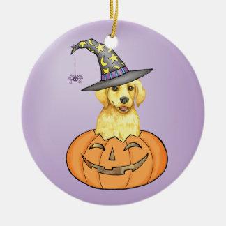 Yellow Lab Halloween Round Ceramic Decoration